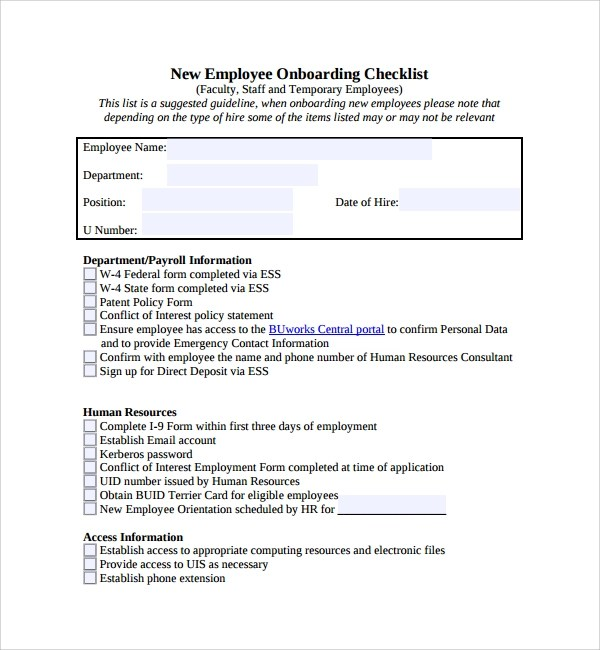sample onboarding plan for new employees - Eczasolinf - sample new hire checklist template