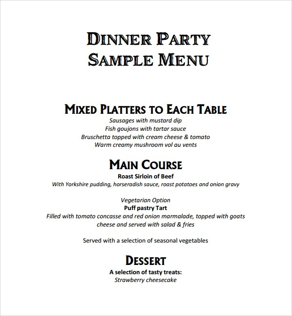 9+ Event Menu Templates Sample Templates - event menu template