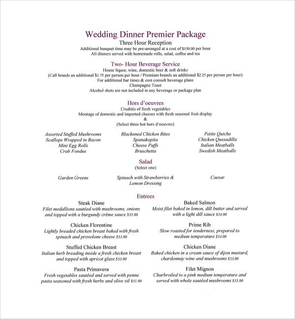 Sample Dinner Menu Template - 8+ Free Documents in PDF, Word