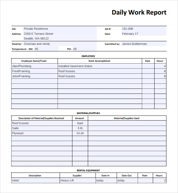 daily job report template - Ozilalmanoof - daily work report template