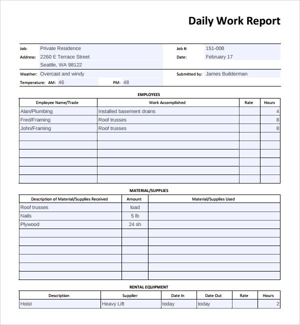 daily job report template