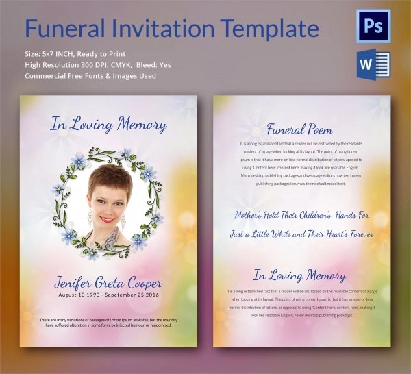 Sample Funeral Invitation Template - 11+ Documents in Word, PSD - invitation for funeral