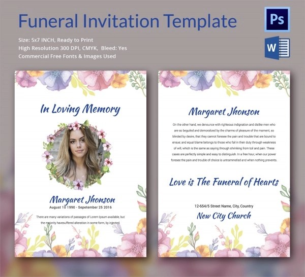 Sample Funeral Invitation Template - 11+ Documents in Word, PSD - funeral announcement sample