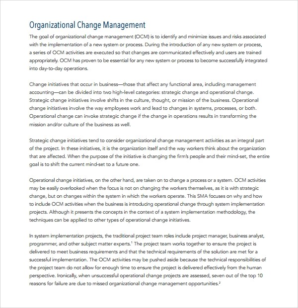 organizational change management plan template - Minimfagency