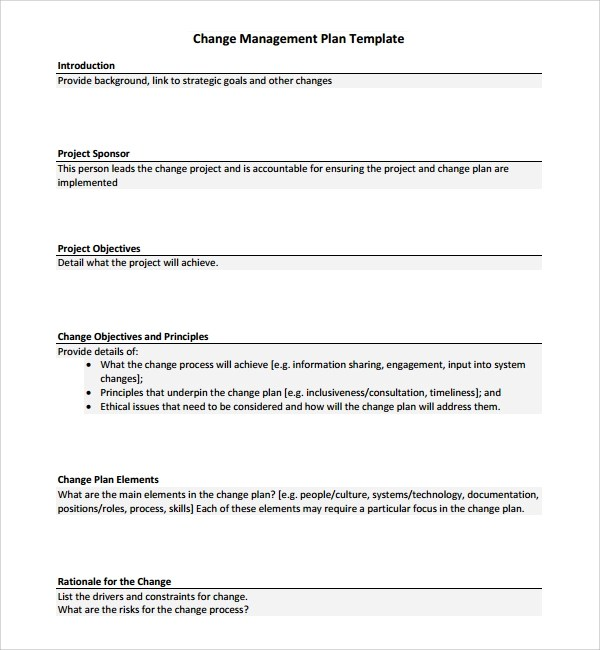 Sample Change Management Plan Template - 12+ Free Documents in PDF, Word