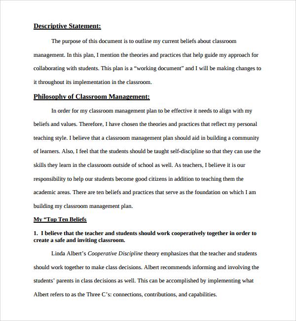 11+ Classroom Management Plan Templates Sample Templates - clroom management plan template