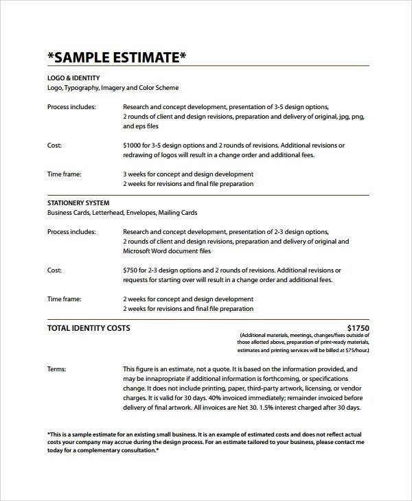8+ Business Estimate Templates Sample Templates - business estimate template