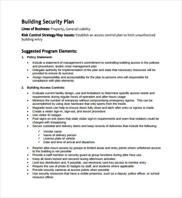 10+ Security Plan Templates Sample Templates - security plan template