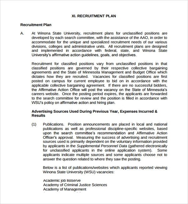 Action Plan Template 14 Free Word Pdf Document Sample Recruiting Plan Template 9 Free Documents In Pdf