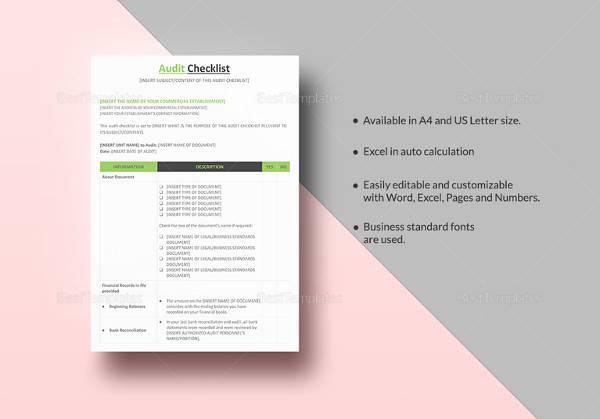 13+ Audit Checklist Templates Sample Templates - audit form templates