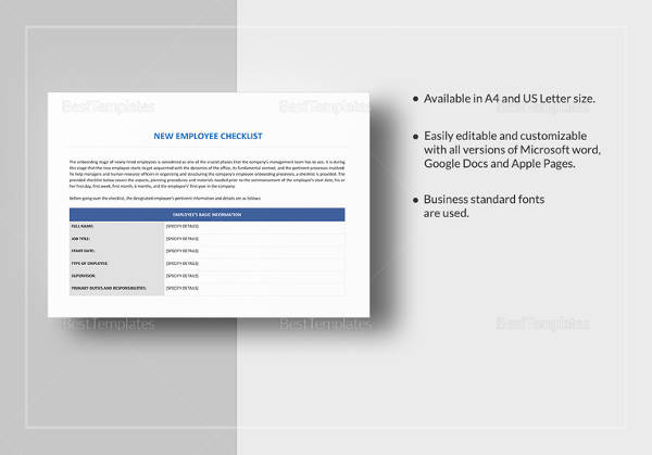 Sample New Employee Checklist - 17+ Free Documents Download in PDF