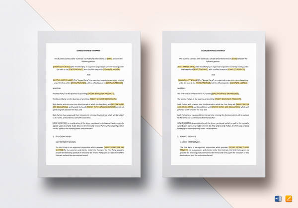 13+ Sample Business Agreement Contracts Sample Templates - business contract template