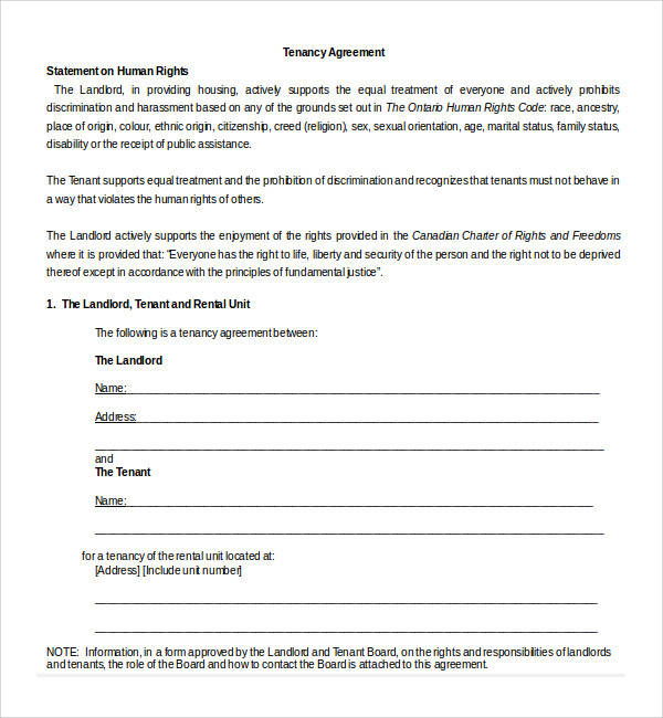 17+ Tenancy Agreement Templates Sample Templates
