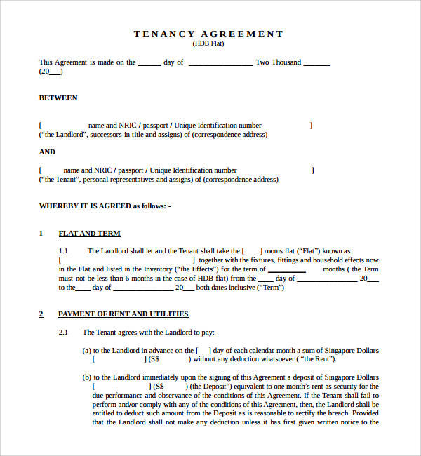 17+ Tenancy Agreement Templates Sample Templates