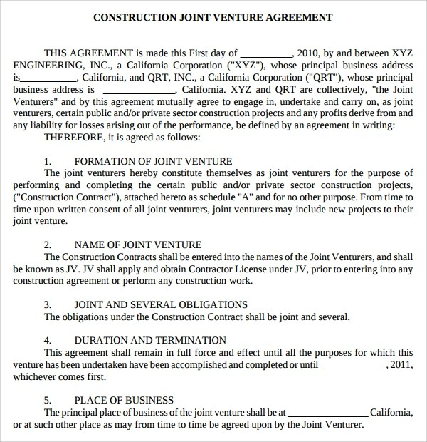 Sample Joint Venture Agreement Construction Project Choice Image - joint venture agreement sample word format