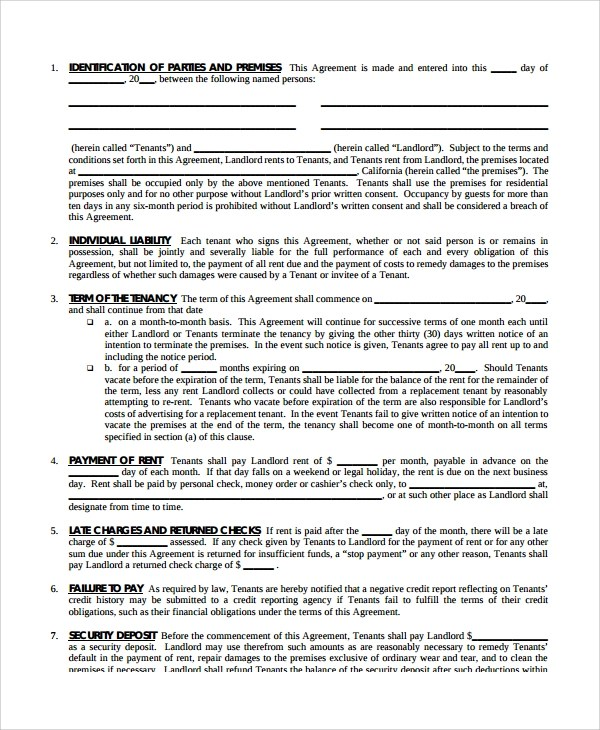 24+ Lease Agreements Sample Templates