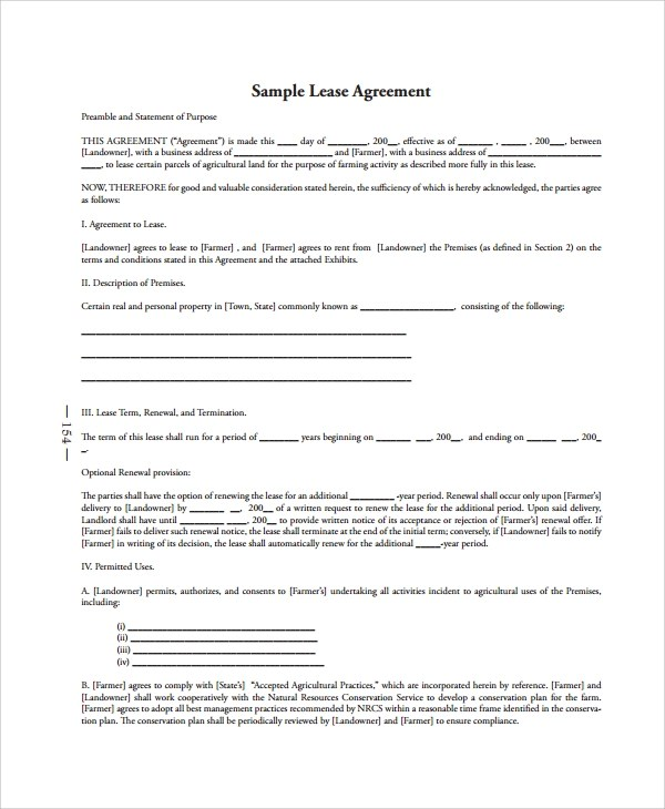 Sample Tenant Lease Agreement Alberta | Create Professional
