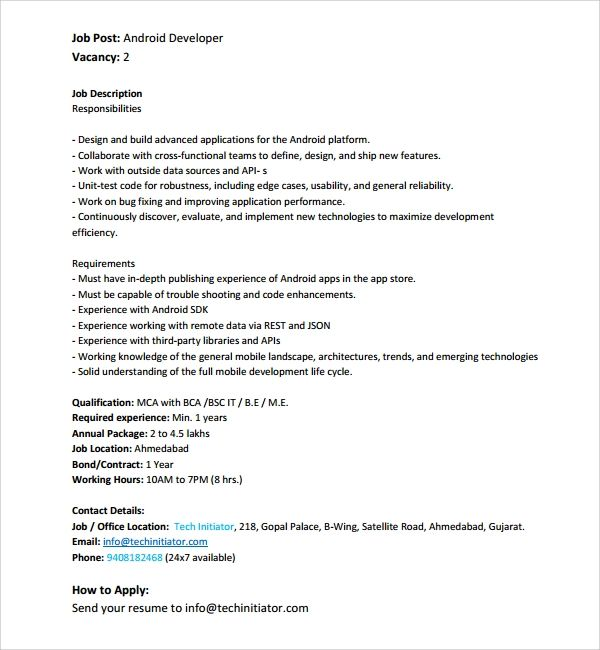 android developer experienced resume template
