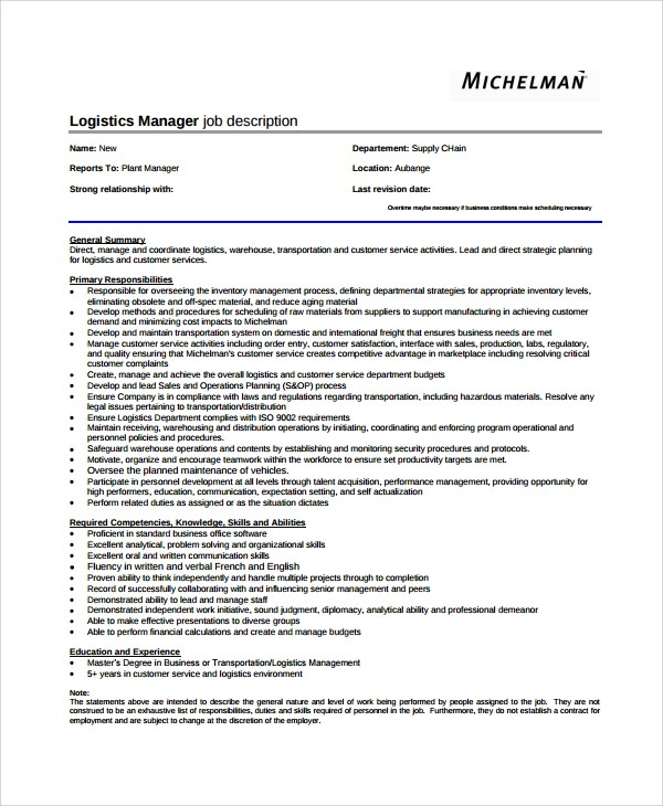 Logistics Officer Job Description Logistics-And-Warehouse-Manager - job description templates
