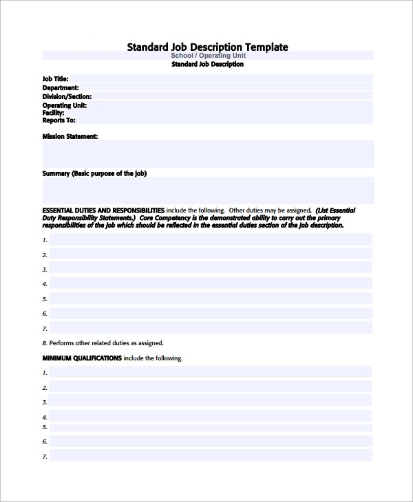 Sample Job Description Template - 32+ Free Documents Download in