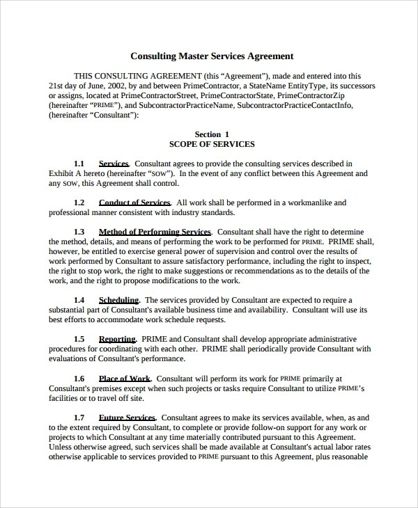 10+ Consulting Service Agreements Sample Templates