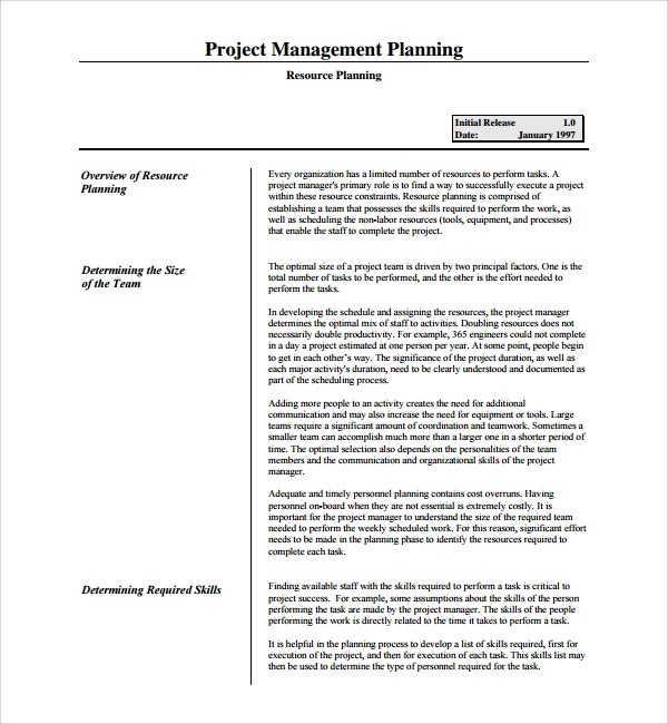 7+ Resource Plan Templates Sample Templates - resource planning template