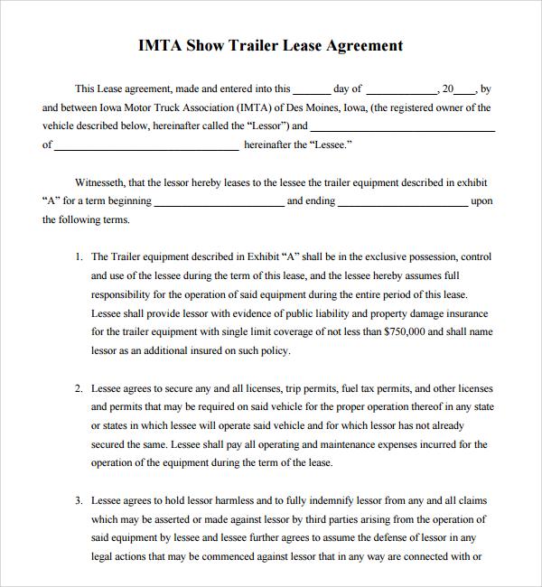 trailer rental agreement template - Teacheng