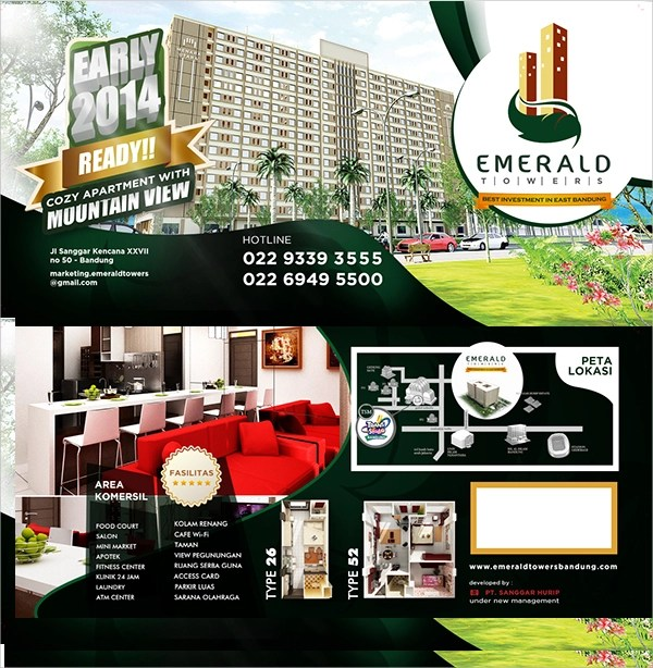 Emerald Bi-Fold Brochure Template 000715 - Template Catalog awesome - emerald flyer template