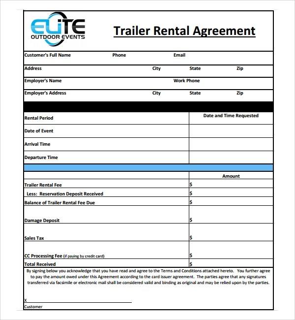 11+ Trailer Rental Agreement Templates Sample Templates - renters agreement