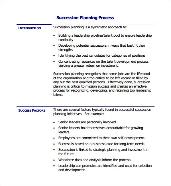 10+ Succession Plan Templates Sample Templates - succession planning template