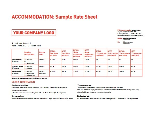 6 Rate Sheet Templates Sample Templates - rate sheet template