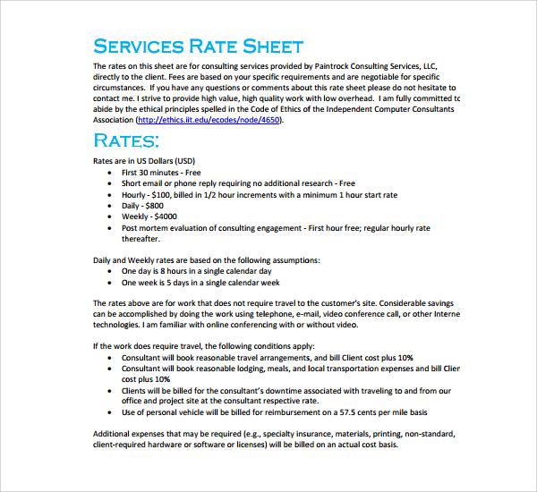 service rate sheet template - Maggilocustdesign - sample rate sheet template