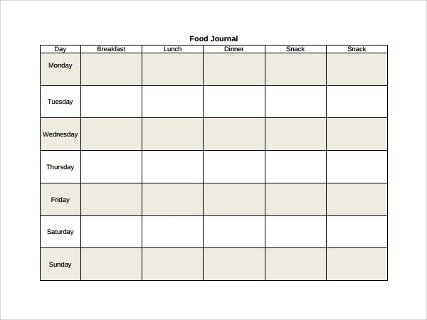 weekly food diary template - Ozilalmanoof - food journal templates