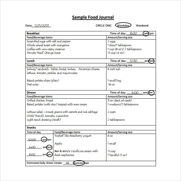 ... Sample Food Journal Template   7+ Free Documents In PDF   Food Journal  Sample ...  Food Journal Sample