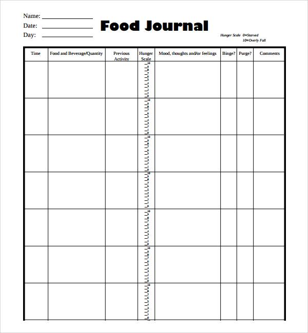 Sample Food Journal gatechien - free food journal templates