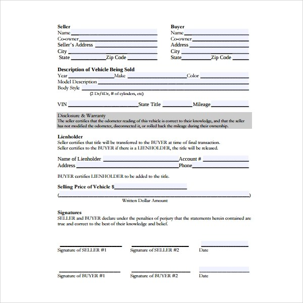 7+ Auto Purchase Agreement Templates Sample Templates - auto contract template