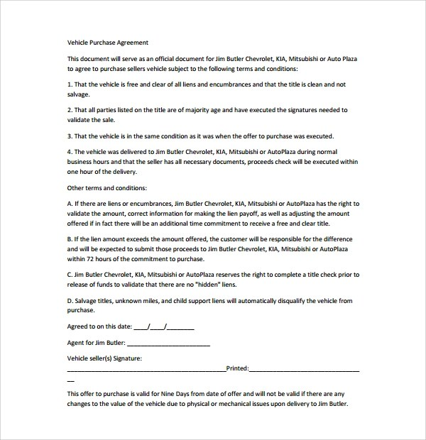 7+ Auto Purchase Agreement Templates Sample Templates - sample vehicle purchase agreement