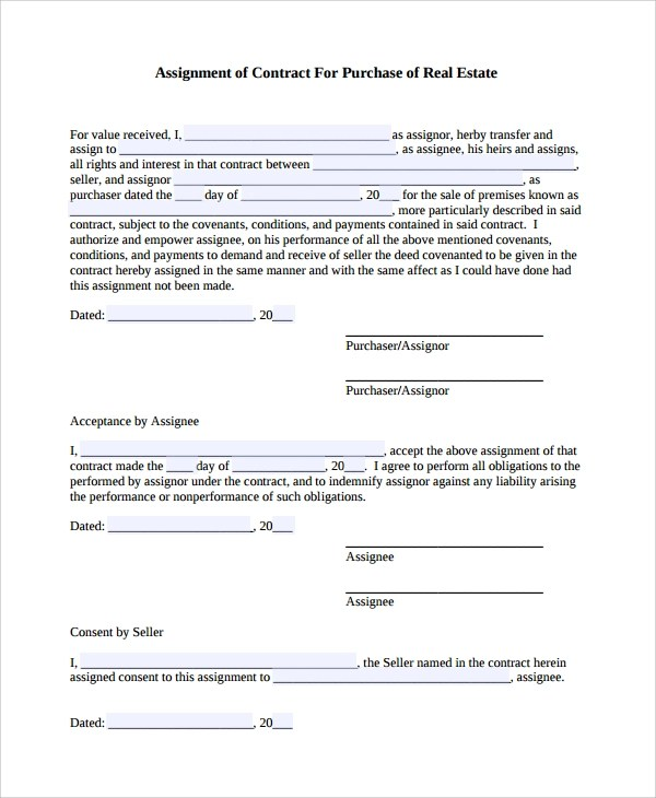 7+ Assignment of Contract Templates Sample Templates - assignment of contract