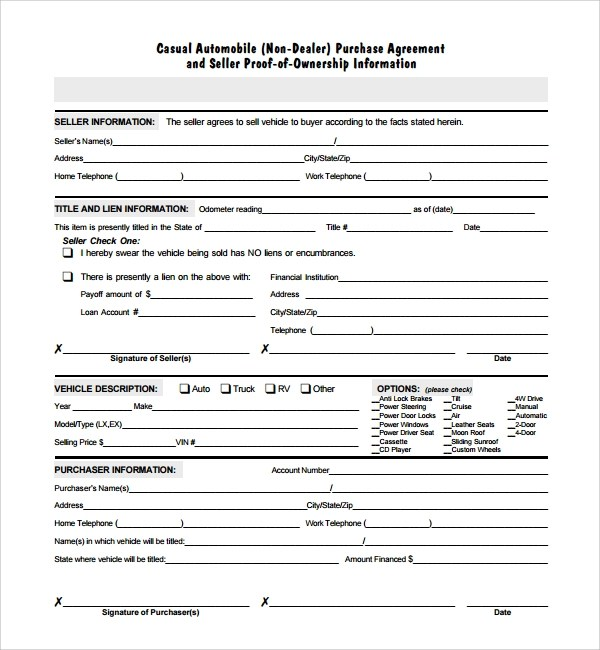 auto purchase agreement template node2004-resume-template - auto purchase agreement form