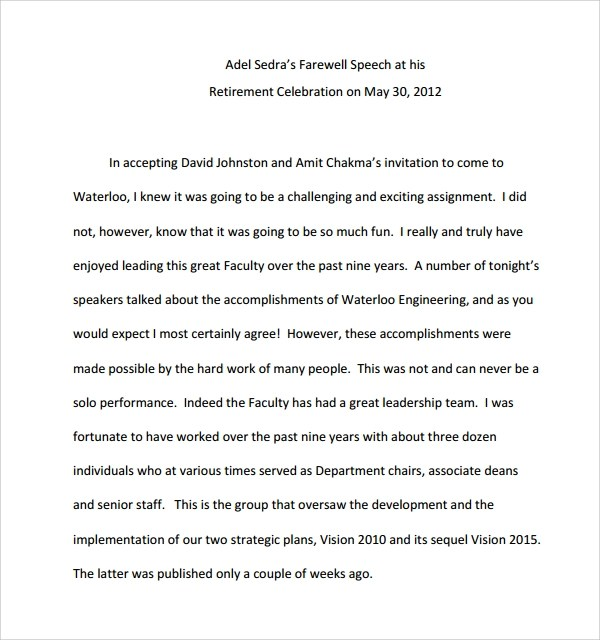 9+ Retirement Speech Examples Sample Templates