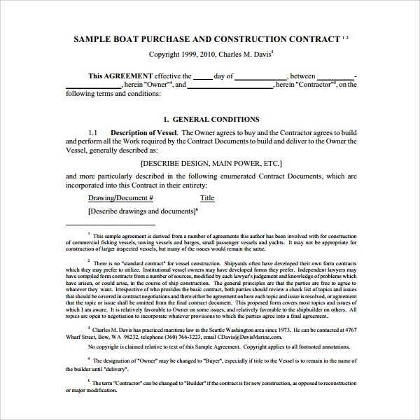 Sample Boat Purchase Agreement - 10+ Free Documents Download in PDF