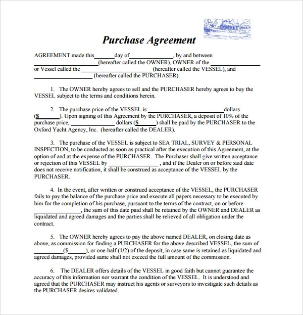 Sample Boat Purchase Agreement - 6+ Free Documents Download in PDF - purchase agreement samples