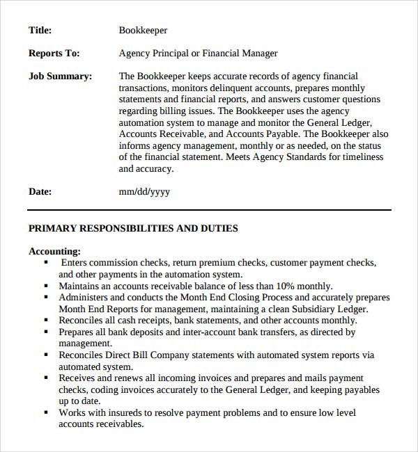 10+ Job Description Templates Sample Templates