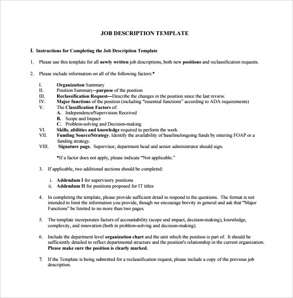 10+ Job Description Templates Sample Templates - job duty template
