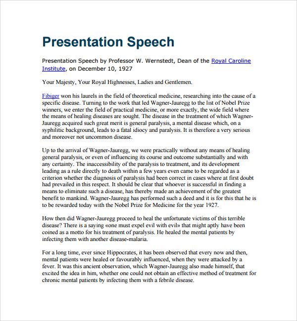 Sample Presentation Speech Example Template - 7+ Free Documents - speech examples