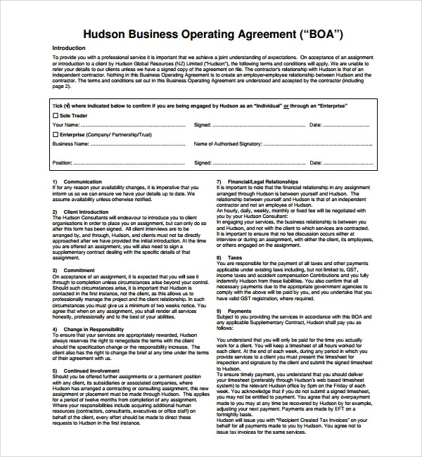Sample Business Operating Agreement - 7+ Free Documents Download - business operating agreement