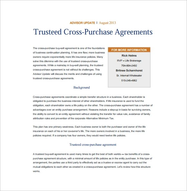 Outstanding Cross Purchase Agreement Template Sketch - Best Resume ...
