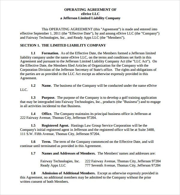8+ Business Operating Agreement Templates Sample Templates