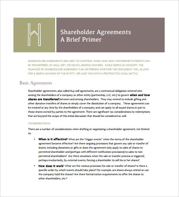 Sample Cross Purchase Agreement Template - 6+ Free Documents - shareholder agreement