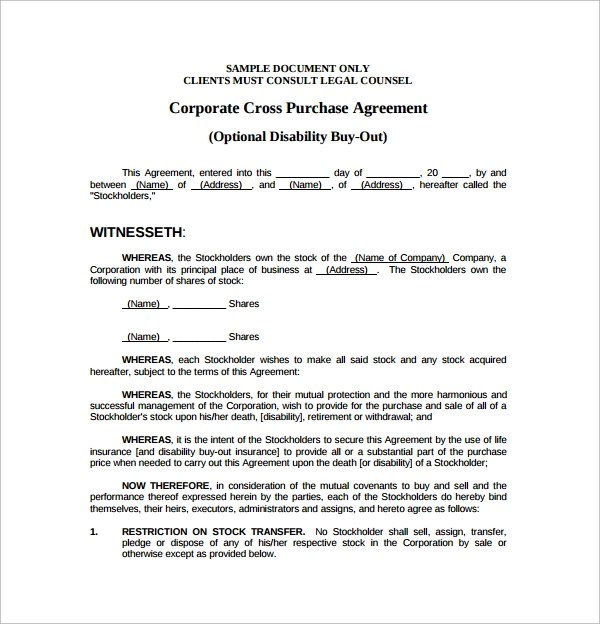 Cross Purchase Agreement Template  NodeCvresumePaasproviderCom